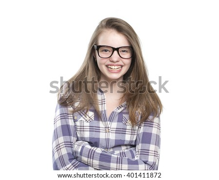 Laughing teen girl. Studio photography on a white background. Age of child 11 years.  - stock photo