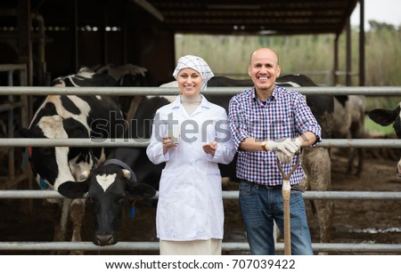 Laughing veterinarian with fresh milk chatting with farmer in hangar with cows