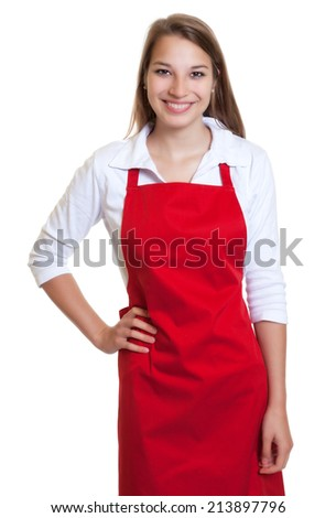 Laughing waitress with red apron - stock photo