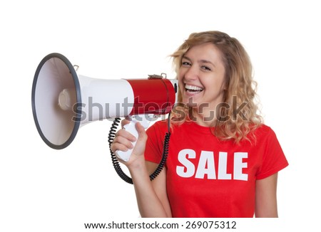 Laughing woman with blond hair and megaphone - stock photo