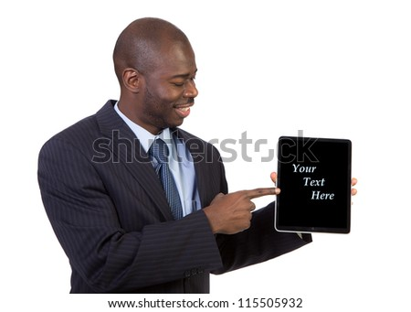 Laughing Young African American Male Businessman Holding a Touch Pad Tablet PC on Isolated White Background - stock photo