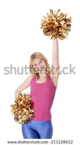laughing young blond cheerleader rejoicing - stock photo