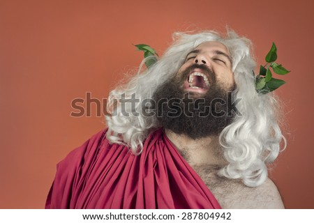 Laughing zeus god or jupiter against orange background - stock photo
