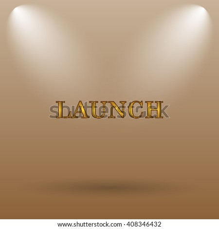 Launch icon. Internet button on brown background. - stock photo