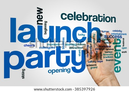 Launch party concept word cloud background - stock photo