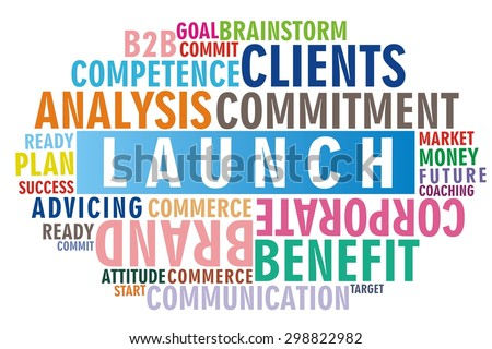 Launch word cloud colorful concept