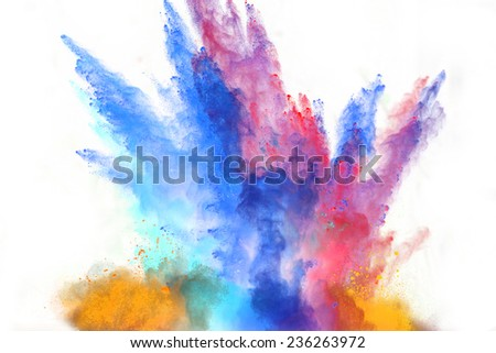 Launched colorful powder, isolated on white background - stock photo