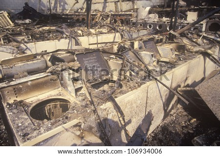 Laundromat burned out during 1992 riots, South Central Los Angeles, California - stock photo