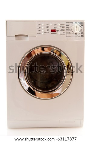Laundromat for washing textile and laundry isolated over white - stock photo