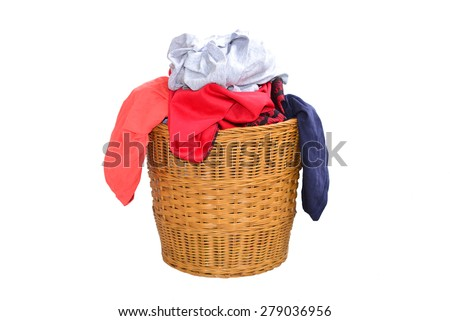 Laundry Basket Filled With Clothing - stock photo