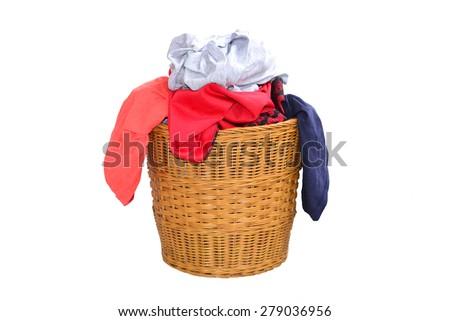 Laundry Basket Filled With Clothing - stock photo