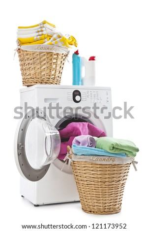 Laundry basket on a washing machine - stock photo