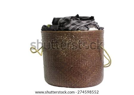 Laundry Basket on white background - stock photo