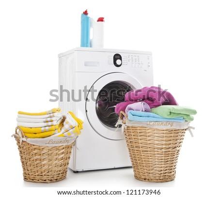 Laundry baskets and washing machine isolated on white background - stock photo