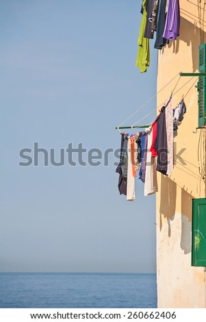 Laundry day in the Ligurian town of Camogli - stock photo