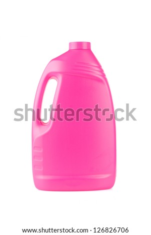 Laundry detergent bottle isolated on white with clipping path. - stock photo