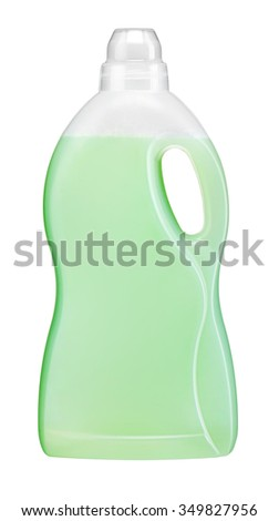 Laundry Detergent green Plastic bottle isolated on white background