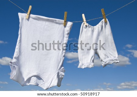 Laundry hanging outdoor - stock photo