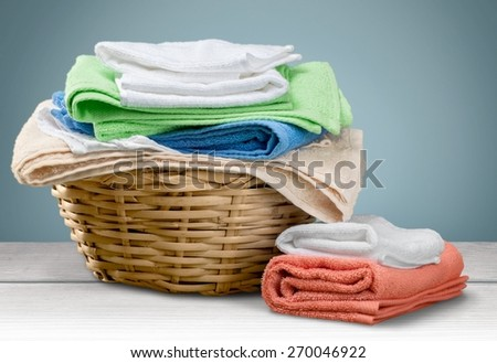 Laundry, Towel, Laundry Basket. - stock photo