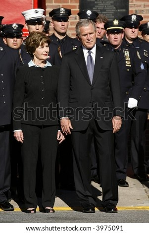 Laura and George Bush - stock photo