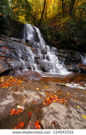 Laurel waterfall. Great Smoky Mountains National Park, Tennessee, USA - stock photo