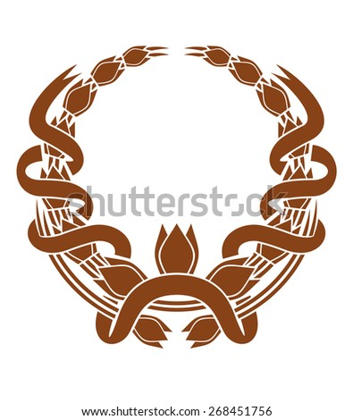 Laurel wreath with a serpentine ribbon entwined around the two sides and a central foliate motif , brown and white - stock photo