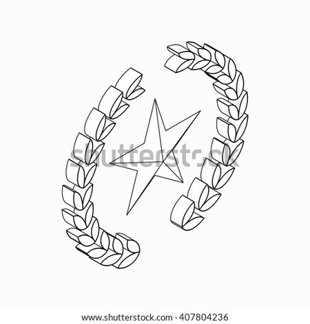Laurel wreath with star icon, isometric 3d style - stock photo