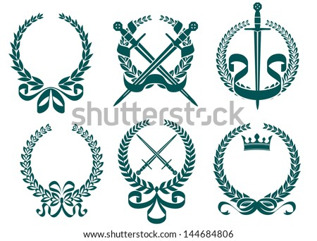 Laurel wreathes with heraldry elements in retro style or idea of logo. Vector version also available in gallery - stock photo
