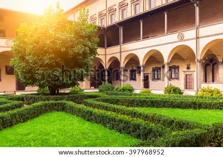 Laurentian Library (Biblioteca Medicea Laurenziana) is historical library in Florence, Italy. Built in cloister of Medicean Basilica di San Lorenzo di Firenze under patronage of pope, Clement VII - stock photo