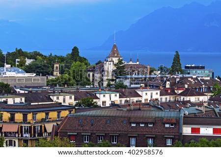 Lausanne architecture and Lake Geneva. Lausanne, Vaud, Switzerland. - stock photo