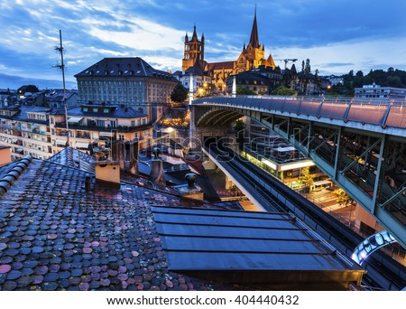 Lausanne Cathedral and city skyline. Lausanne, Vaud, Switzerland. - stock photo