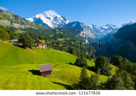 Lauterbrunnen Valley and Jungfrau seen from Wengen, Bernese Oberland, Switzerland