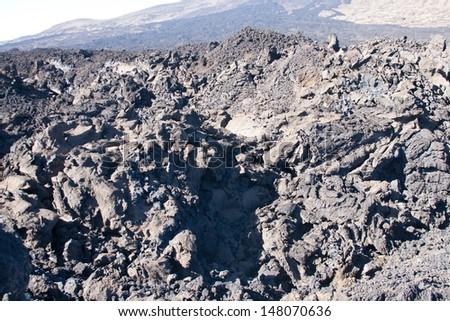 Lava fields near to Teide peak on Tenerife. Teide National Park. Canary islands. Spain - stock photo