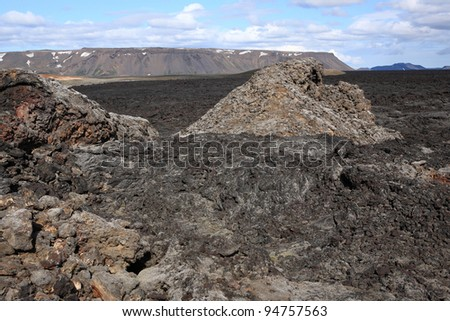 Lava flow at Krafla near Myvatn in northern Iceland - stock photo
