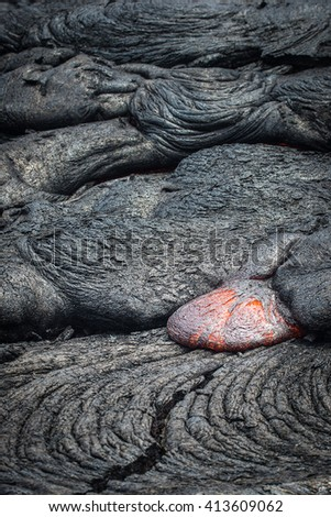 Lava flow in Vocalnoes National Park Hawaii - stock photo