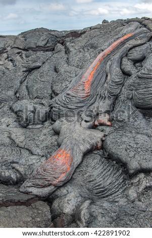 Lava flow, Vocalnoes National Park Big Island, Hawaii - stock photo