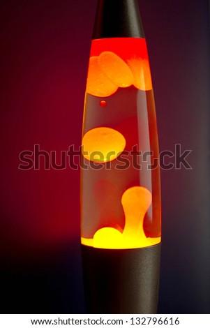 Lava lamp at night - stock photo