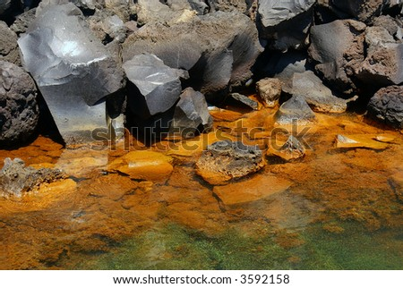 Lava on Santorini island Greece - stock photo