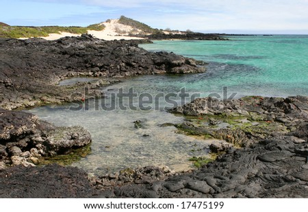 Lava once flowed into the oceans here on the Galapagos Islands - stock photo