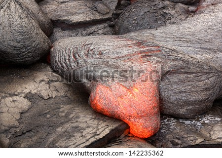 Lava tongue with a basaltic composition in Hawaii. Kilauea volcano. - stock photo