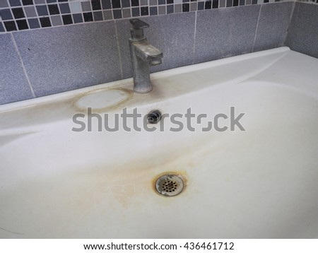 Lavatory faucets,wash basin is very dirty