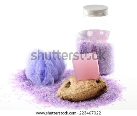 Lavendar and almond oil bar soap and lavender bath salt - stock photo