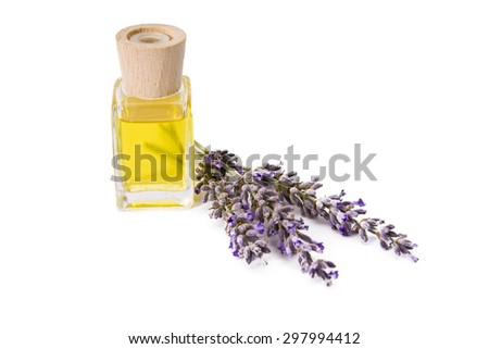 lavender and oil isolated - stock photo