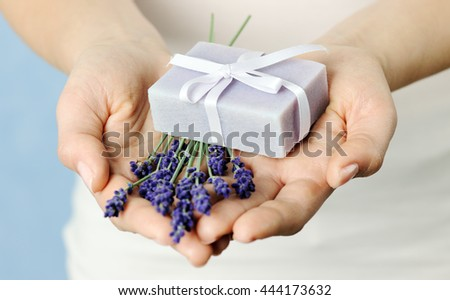 lavender and soap - stock photo