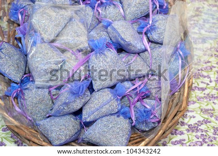 Lavender bags in the basket on the market place.