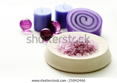 lavender bath salt and some cosmetic beauty treatment