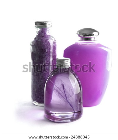 lavender beauty treatment products - stock photo