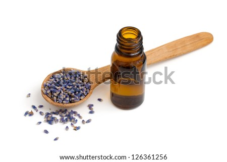 lavender essential oil isolated on white background - stock photo