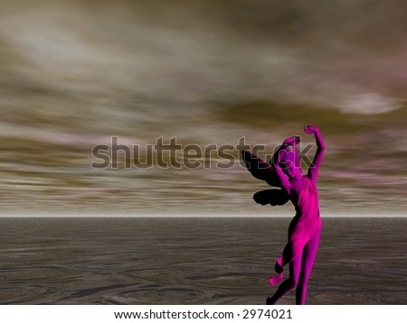 Lavender fairy dancing by the light of a full moon near the sea - stock photo