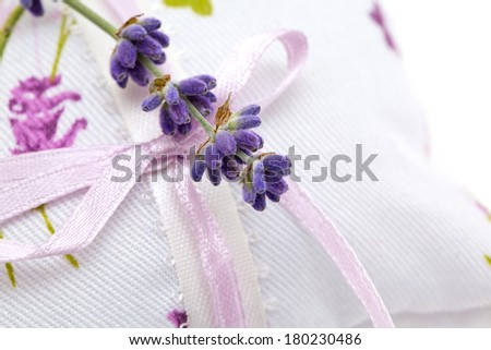 lavender flower on an aromatic pillow - stock photo